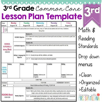 Third Grade Common Core Lesson Plan Template by Math Tech Connections - lesson plan outline