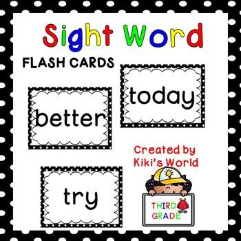 Third Grade Sight word flash cards (Word Wall) by Kiki\u0027s World TpT