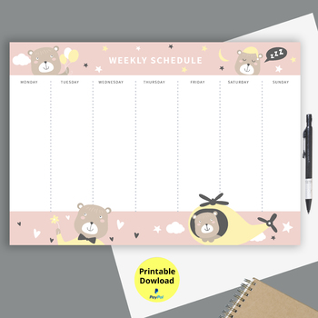 This Printable Weekly Schedule Planner includes both Sunday