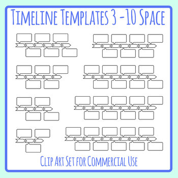 Timeline Templates with Blank Detail Boxes Clip Art Set for
