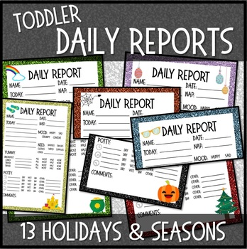 Toddler Daily Reports 13 SEASONS  HOLIDAYS Multiple Designs