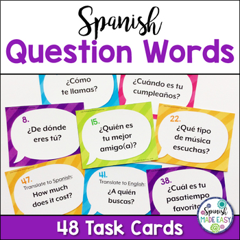 Spanish Question Words Task Cards by Spanish Made Easy TpT