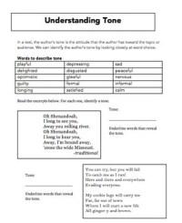 Tone Worksheet Freebie by Emily Kissner | Teachers Pay ...