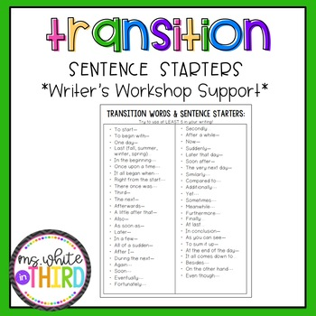 Transition Sentence Starters Worksheets  Teaching Resources TpT