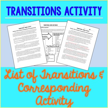 Transition Words and Phrases Activity by Engage with ELA TpT