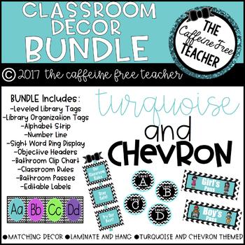 Turquoise and Chevron Classroom Decor and Organization BUNDLE! TpT