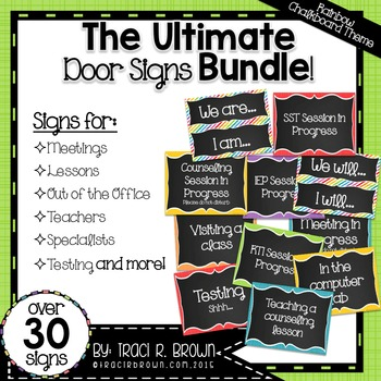 Ultimate Door Signs Bundle 2 \u2013 Rainbow Chalkboard Theme TpT