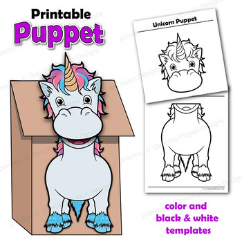 Unicorn Craft Activity Paper Bag Puppet Template by Dancing Crayon