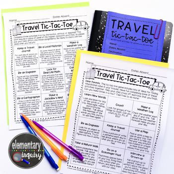 Travel Tic-Tac-Toe Free Sample Cross-Curricular Absent Work TpT
