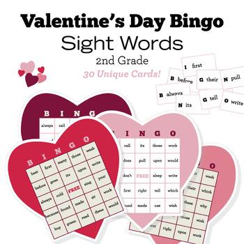 Valentine\u0027s Day Bingo - Second 2nd Grade Sight Words - 30 Unique Cards