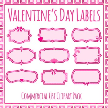 Valentine\u0027s Day Blank Labels Commercial Use Clip Art Set by Hidesy\u0027s