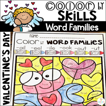 Valentine\u0027s Day Color by Code Word Families Printables by