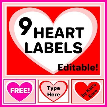 Valentine\u0027s Day Hearts Labels \u2013 9 Labels with Editable Text \u2013 FREE!