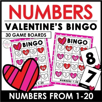 Valentine\u0027s Day Number Recognition 1-20 Bingo Game by Hot Chocolate