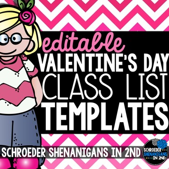 Valentine\u0027s Day Class List by Schroeder Shenanigans in 2nd TpT