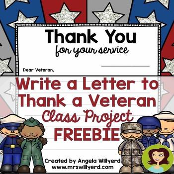 Veterans Day Thank a Veteran Letter Template FREEBIE by Angela Willyerd
