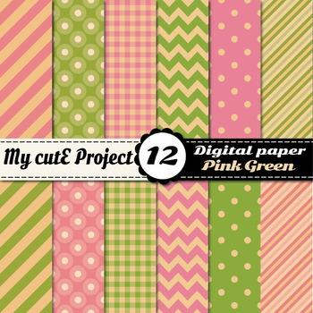 Vintage Green and pink DIGITAL PAPER - Polka dots, stripes, gingham