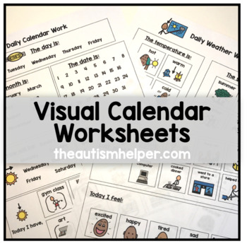 Visual Calendar Worksheets for Students with Autism or Special