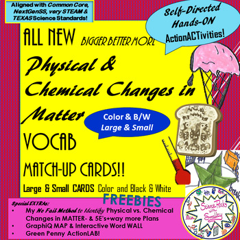 Physical vs Chemical CHANGES in Matter--Vocab MatchUP Cards w/ EXTRAS!
