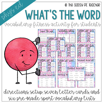 Vocabulary Fitness What\u0027s the Word? by The Sassy PE Teacher TpT