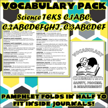 Vocabulary Pack for Chemistry Science TEKS Safety, Process, and