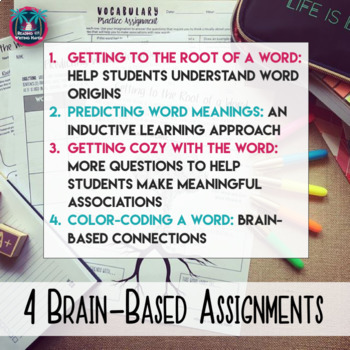 Differentiated Vocabulary Practice Task Cards and Assignments for