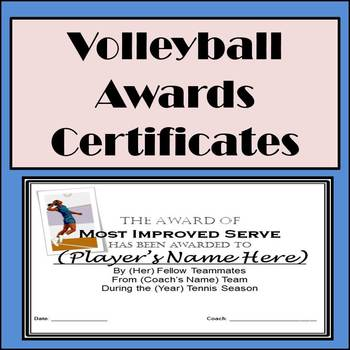 Volleyball Awards Certificates - 9 Diffferent Awards and Nomination