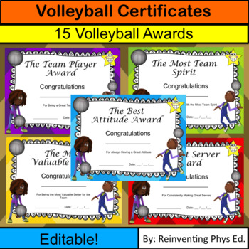 Volleyball Certificates! 15 Editable Volleyball Awards by