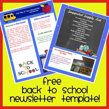 Free! WELCOME BACK TO SCHOOL Newsletter Template WORD by The - welcome back template