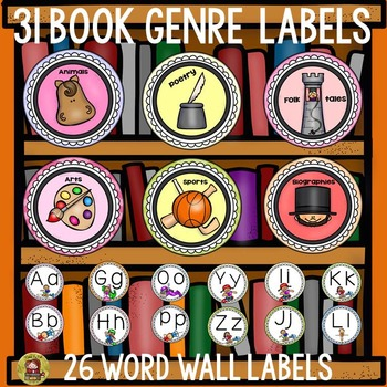 WORD WALL LABELS BOOK GENRE LABELS by Teach To Tell TpT