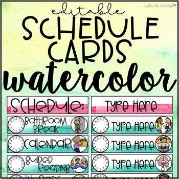 Daily Schedule Cards Watercolor by Cute in Second TpT