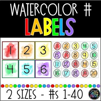 Watercolor Number Labels by 2nd Grade Sassy Pants TpT