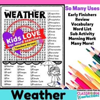 Weather Word Search Worksheets  Teaching Resources TpT