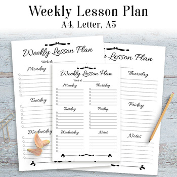 Weekly Lesson Plan Template Printable, Simple, Easy, 1 Page, Lesson - weekly lesson plan template