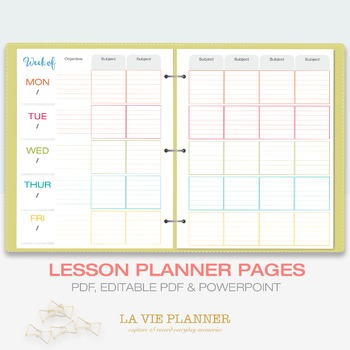 Weekly Lesson Planner Printable Class Schedule Letter Sized