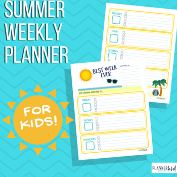 Weekly Planner for Summer by SRL Printables Teachers Pay Teachers