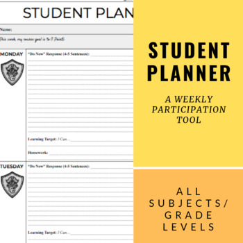 Weekly Student Planner by Loosli Learning Teachers Pay Teachers