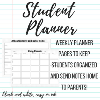 Weekly Student Planner Page by teachATX Teachers Pay Teachers - weekly planner pages
