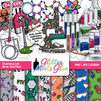Chemistry Clip Art Science Lab Safety Equipment Graphics {Glitter
