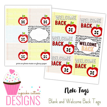 Welcome Back Blank and Wording Large Favor tags - Digital Fun