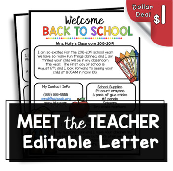 Welcome Back to School Newsletter - Editable - Open House - Meet