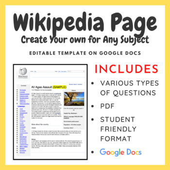 Wikipedia Page Create Your Own for Any Subject (Word Template) TpT