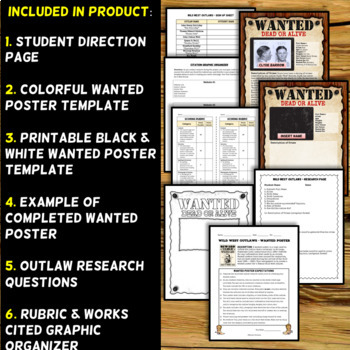 Wild West Outlaw Project - Wanted Poster (Digital and Printable Options) - example of a wanted poster