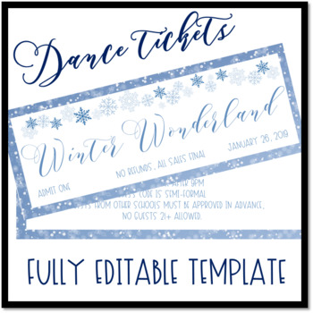 Winter Wonderland Dance Ticket Template by The Never Boring Mrs Doering