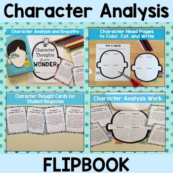 Wonder Character Analysis Project End of Novel Flipbook TpT