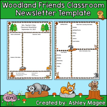Woodland Friends Editable Classroom Newsletter Template by Mrs Magee - editable classroom newsletter