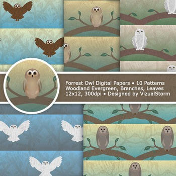 Woodland Owl Digital Paper, 10 Printable Forrest Owl Background Patterns