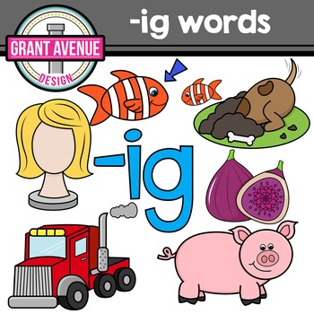 Word Family Clip Art - IG Word Family CVC Clipart by Grant Avenue Design - word clip art