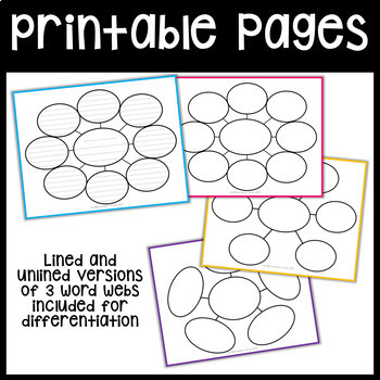 Word Web Graphic Organizers by Differentiation Corner TpT