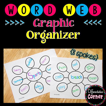Word Web Graphic Organizer *8 spots* by Differentiation Corner TpT